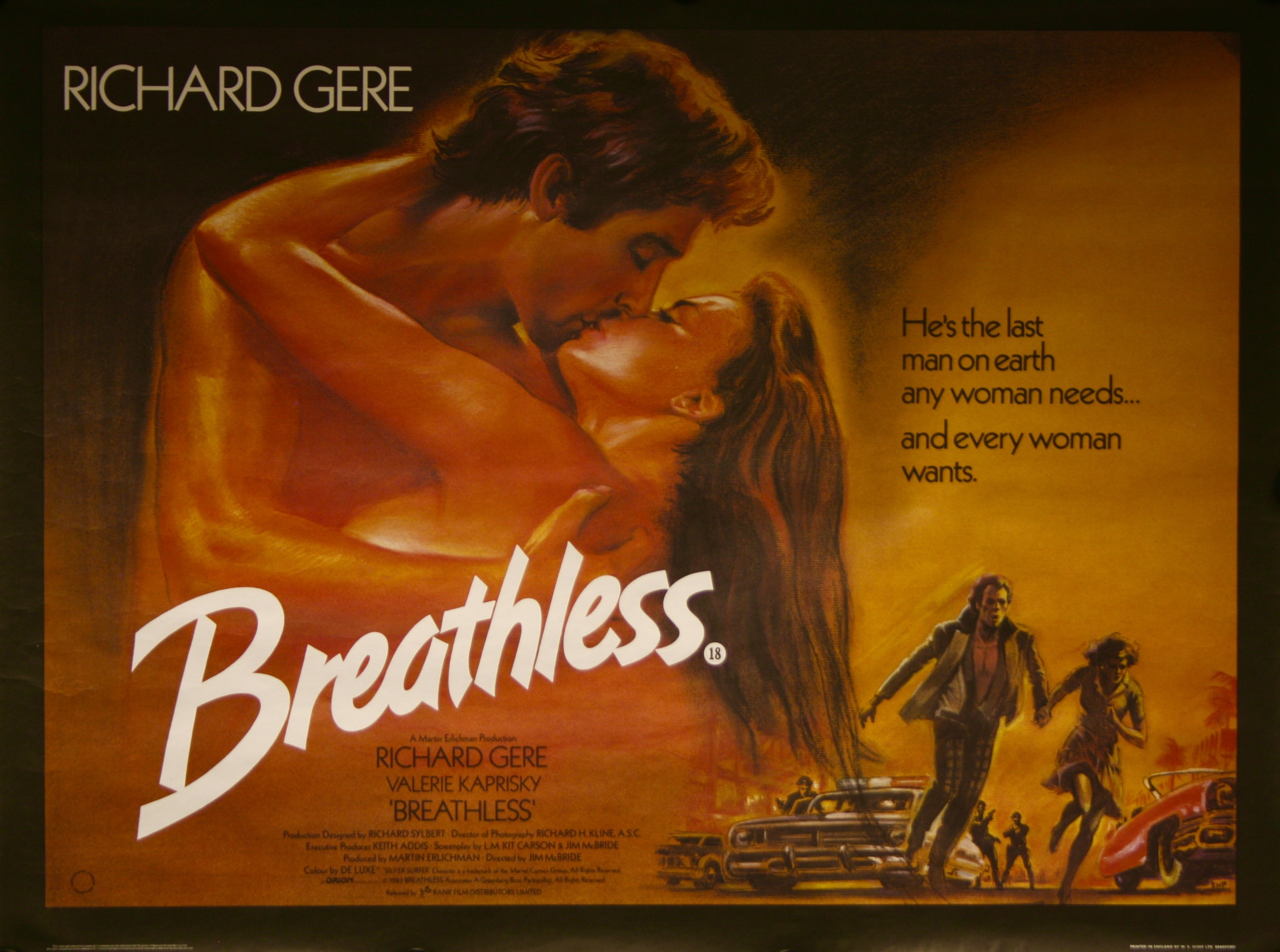 1983 Movie Posters: Breathless Movie Poster