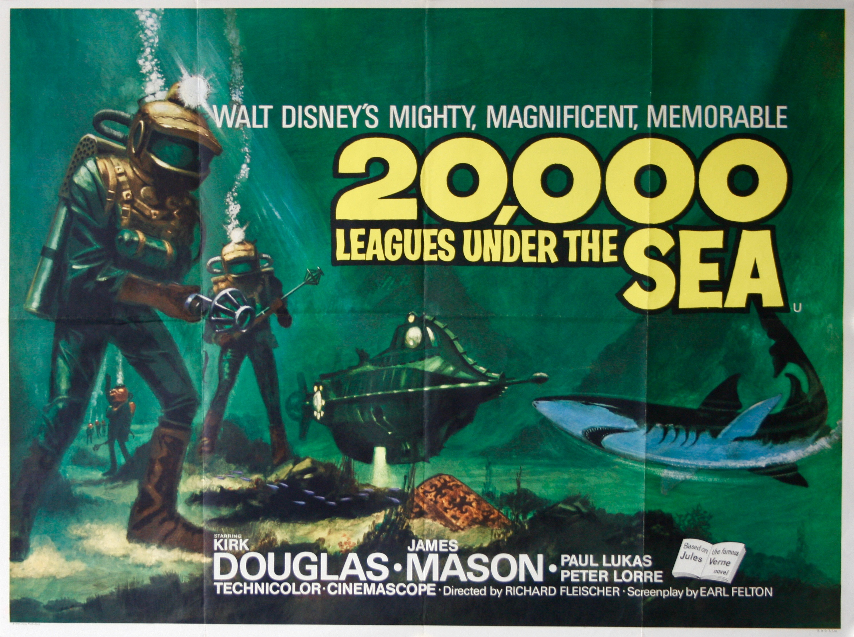 Fantasy Book Cover Posters ~ Leagues under the sea vintage movie posters