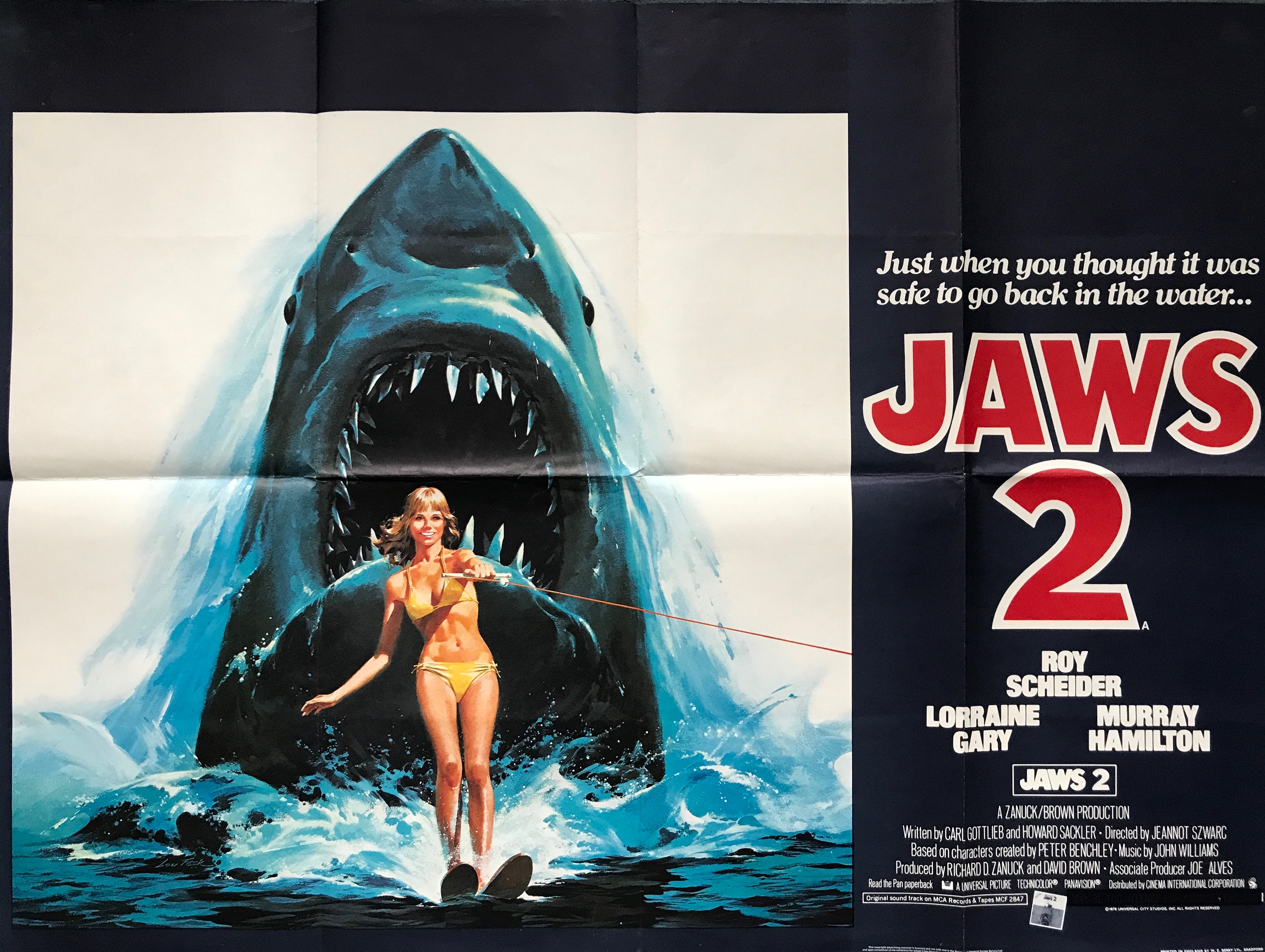 Jaws 2 movie poster - rare vintage film posters