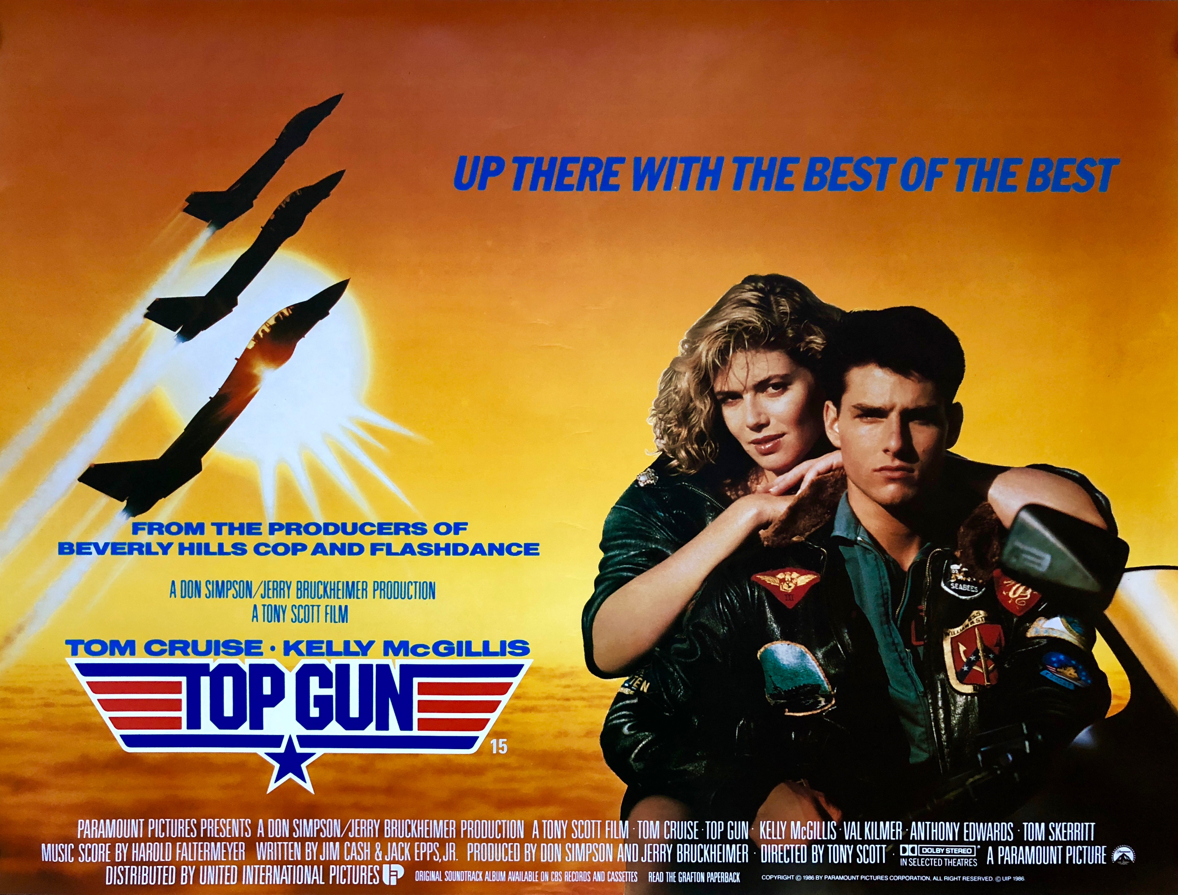 Original Top Gun Movie Poster - Tom Cruise - Kelly McGillis - Meg Ryan
