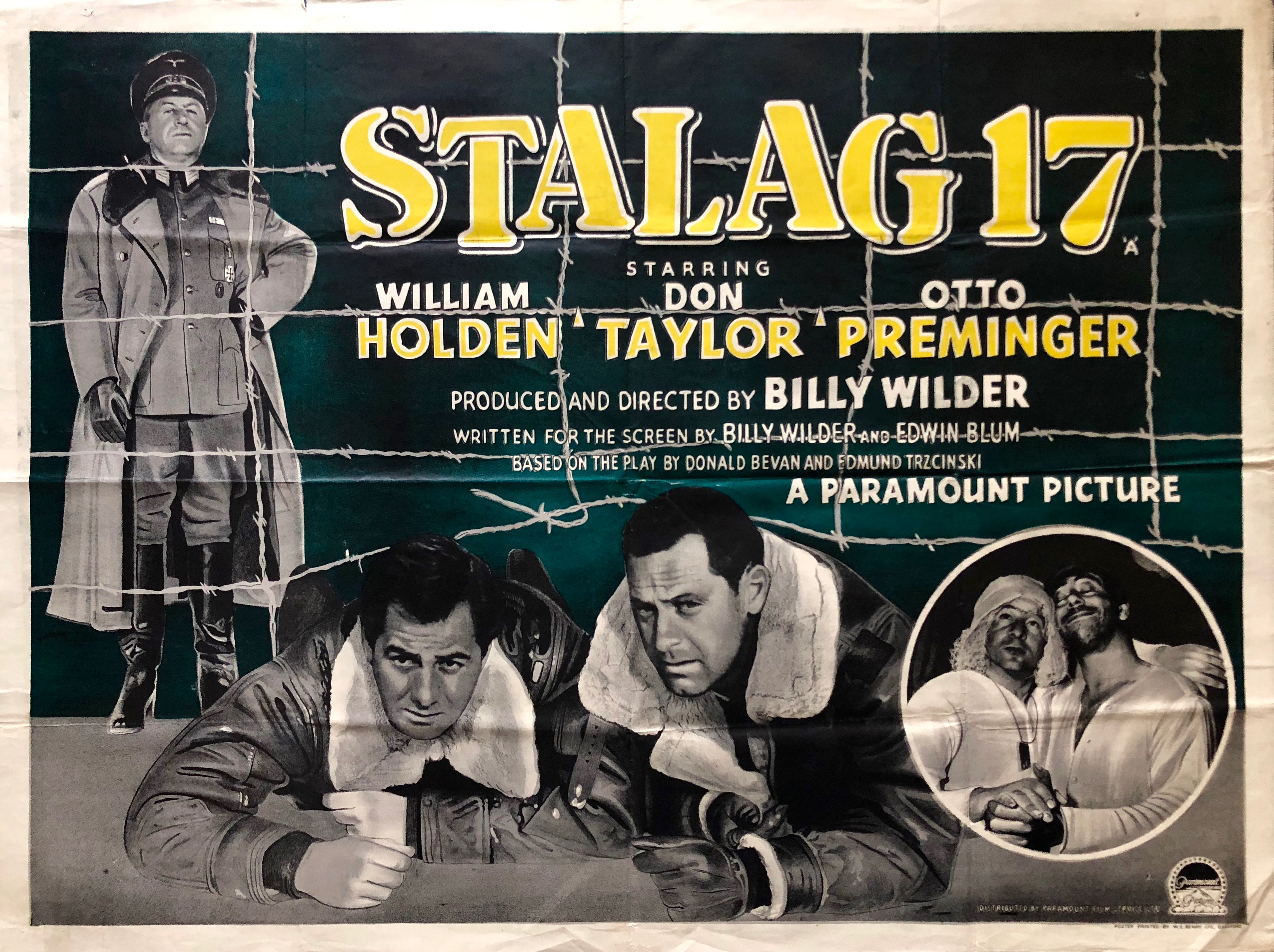Original STALAG 17 Movie Poster - Billy Wilder - William Holden - War